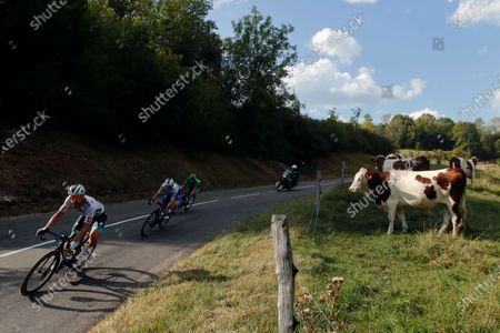 Slovakia's Peter Sagan, left, and Ireland's Sam Bennett, wearing the best sprinter's green jersey, ride during the stage 19 of the Tour de France cycling race over 166 kilometers (103 miles), with start in Bourg-en-Bresse and finish in Champagnole