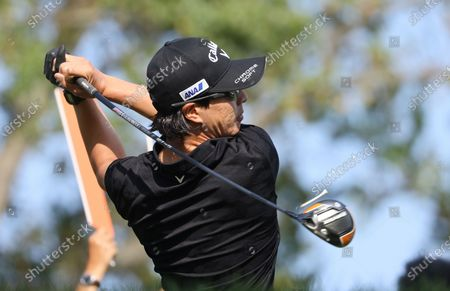 Ryo Ishikawa of Japan hits his tee shot on the seventeenth hole during the second round of the 2020 US Open at Winged Foot Golf Club in Mamaroneck, New York, USA, 18 September 2020. The 2020 US Open will be played from 17 September through 20 September in front of no fans due to the ongoing coronovirus pandemic.
