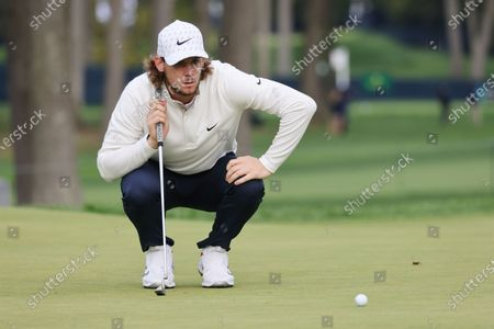 Thomas Pieters of Belgiium lines up his putt on the fifth hole during the second round of the 2020 US Open at Winged Foot Golf Club in Mamaroneck, New York, USA, 18 September 2020. The 2020 US Open will be played from 17 September through 20 September in front of no fans due to the ongoing coronovirus pandemic.
