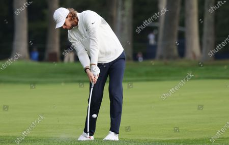Thomas Pieters of Belgium hits from the first cut on the fifth hole during the second round of the 2020 US Open at Winged Foot Golf Club in Mamaroneck, New York, USA, 18 September 2020. The 2020 US Open will be played from 17 September through 20 September in front of no fans due to the ongoing coronovirus pandemic.