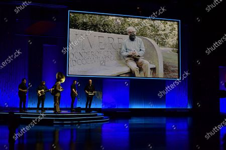 """Stock Picture of Film director Woody Allen in a video from New York, promotes his film """"Rifkin's Festival"""" during the opening ceremony at the 68th San Sebastian Film Festival, in San Sebastian, northern Spain"""