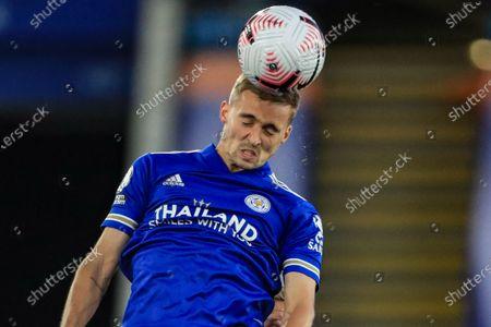Stock Photo of Ricardo Pereira (21) of Leicester City heads the ball