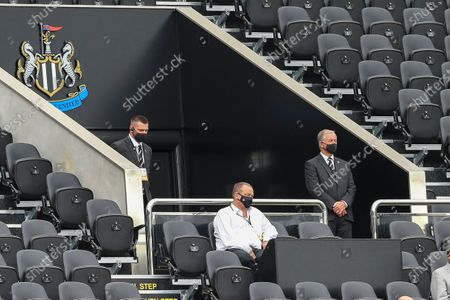 Newcastle United owner Mike Ashley sits in the stands