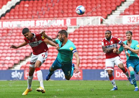 Stock Picture of Ashley Fletcher of Middlesbrough beats Steve Cook of Bournemouth to get a header at goal