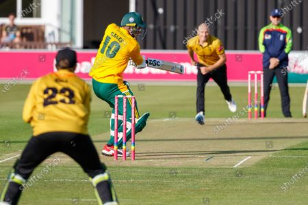 Dieter Klein bowling to Alex Hales during the Vitality T20 Blast North Group match between Leicestershire Foxes and Notts Outlaws at the Fischer County Ground, Grace Road, Leicester