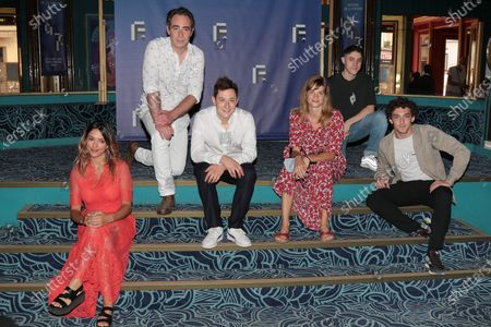 Vanessa Guide, Bruno Paviot, Arthur Mazet, Noemie Schmidt, Rio Vega, Paul Scarfoglio - '3615 Monique' Photocall at the 'Festival de la Fiction TV 2020' held at the 'Folies Bergere' in Paris, France