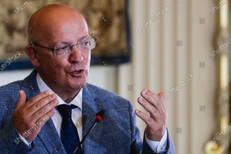 Portuguese Foreign Affairs Minister Augusto Santos Silva talking at the press conference after his meeting with Spanish counterpart Arancha González Laya (not pictured) at the press conference after their meeting in the Necessidades palace in Lisbon, Portugal, 18 September 2020. At the meeting, the two ministers will address issues of bilateral relations, focusing in particular on the preparation of the next Luso-Spanish Summit, scheduled for October.