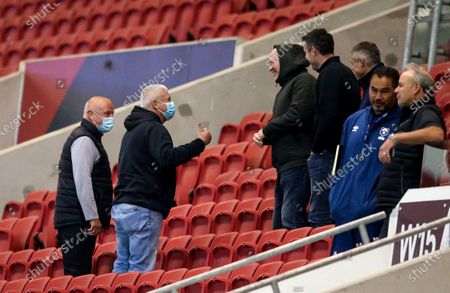 Bristol Bears vs Dragons. Chiefs' Head Coach Warren Gatland with Wales Coaches Neil Jenkins and Stephen Jones