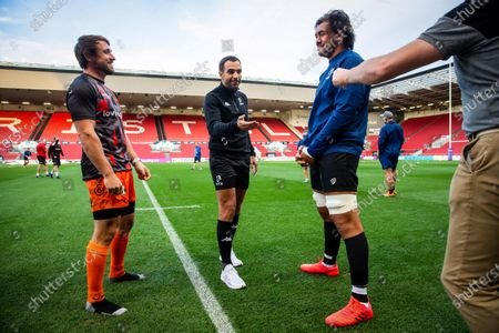 Bristol Bears vs Dragons. Dragons' Rhodri Williams with Referee Mathieu Raynal and Bristol Bears' Steven Luatua at the coin toss