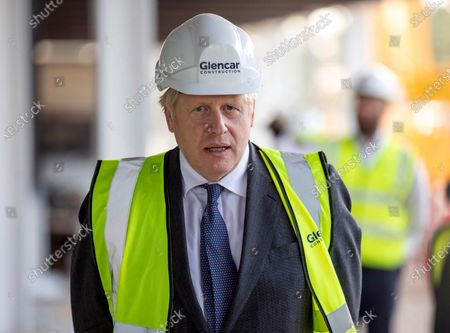 Britain's Prime Minister Boris Johnson visits the construction site of the new vaccines Manufacturing and Innovation Centre (VMIC), currently under construction on the Harwell science and innovations campus near Didcot, England