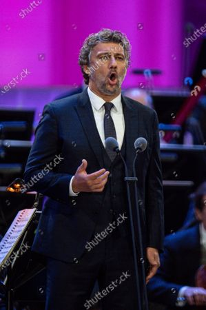 German tenor Jonas Kaufmann performs during the 'Summer Night Concert' (Sommernachtskonzert) at the Schoenbrunn Palace gardens, in Vienna, Austria, 18 September 2020. Due to the COVID-19 coronavirus pandemic and the measures of the Austrian government to contain the spread of the virus, only 1,250 guests, instead of up to 100,000 people, were allowed to attend the annual open-air concert with free admission at the palace and its baroque gardens, which are a UNESCO world cultural heritage site.