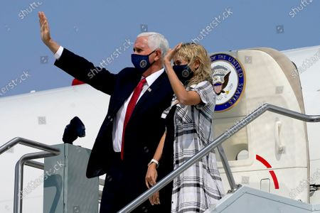 Stock Picture of Vice President Mike Pence and his daughter Charlotte Pence Bond arrive at Sky Harbor International Airport, in Phoenix