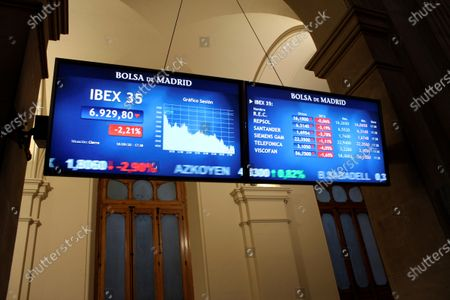 Several screens show the activity at the end of the session inside Spain's Stock Exchange main headquarters in Madrid, central Spain, 18 September 2020. The IBEX 35, Spain's main index, sunk a 2.21 per cent, not being able to reach 7,000 points.