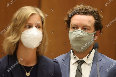 "Actor Danny Masterson stands with his attorney Sharon Appelbaum during his arraignment in Los Angeles Superior Court in Los Angeles, . ""That '70s Show"" actor Masterson was arraigned on three rape charges"