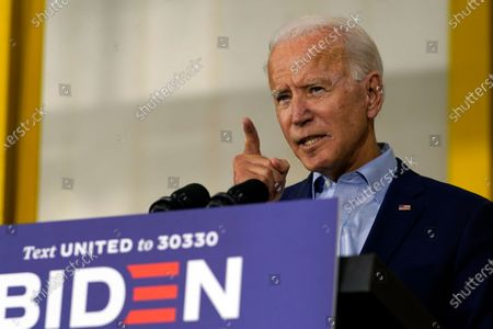 Democratic presidential candidate former Vice President Joe Biden speaks at a union training center in Hermantown, Minn