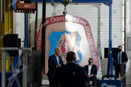 Democratic presidential candidate former Vice President Joe Biden speaks at the Jerry Alander Carpenter Training Center in Hermantown, Minn