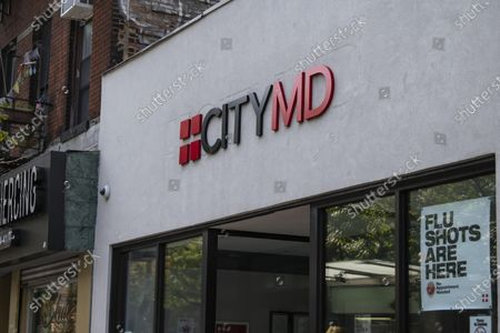 Stock Picture of A Flu shot sign is featured in the front window of The City MD location in The West Village in Manhattan, New York. Mandatory credit: Kostas Lymperopoulos/CSM