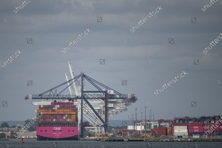 An overall view of a ship docked at The Port of Bayonne in Bayonne, New Jersey. Mandatory credit: Kostas Lymperopoulos/CSM