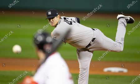 New York Yankees starting pitcher Jordan Montgomery delivers during the first inning of the MLB baseball game between the Boston Red Sox and the New York Yankees at Fenway Park in Boston, Massachusetts, USA, 18 September 2020.