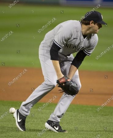 New York Yankees starting pitcher Jordan Montgomery bobbles the ball during the first inning of the MLB baseball game between the Boston Red Sox and the New York Yankees at Fenway Park in Boston, Massachusetts, USA, 18 September 2020.