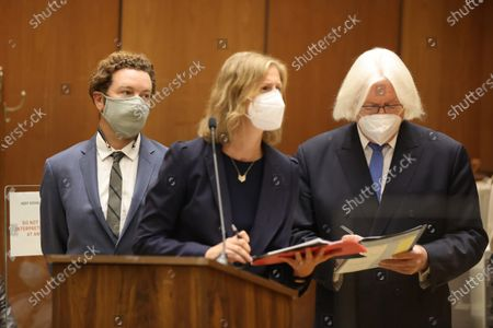 Actor Danny Masterson (L) stands with his lawyers Thomas Mesereau (R) and Sharon Appelbaum as he is arraigned on three rape charges in separate incidents between 2001 and 2003, at Los Angeles Superior Court, in Los Angeles, California, USA, 18 September 2020.