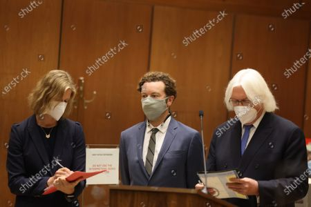 Actor Danny Masterson (C) stands with his lawyers Thomas Mesereau (R) and Sharon Appelbaum as he is arraigned on three rape charges in separate incidents between 2001 and 2003, at Los Angeles Superior Court, in Los Angeles, California, USA, 18 September 2020.