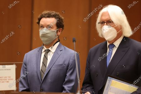 Actor Danny Masterson (L) stands with his lawyer Thomas Mesereau as he is arraigned on three rape charges in separate incidents between 2001 and 2003, at Los Angeles Superior Court, in Los Angeles, California, USA, 18 September 2020.