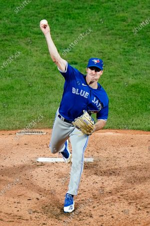 Toronto Blue Jays' Ross Stripling pitches during the third inning of the second baseball game in a doubleheader against the Philadelphia Phillies, in Philadelphia