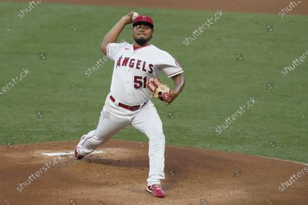 Los Angeles Angels starting pitcher Jaime Barria throws during the first inning of the team's baseball game against the Texas Rangers, in Anaheim, Calif