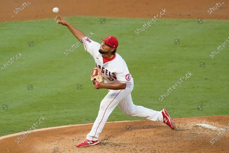 Los Angeles Angels starting pitcher Jaime Barria throws during the second inning of the team's baseball game against the Texas Rangers, in Anaheim, Calif