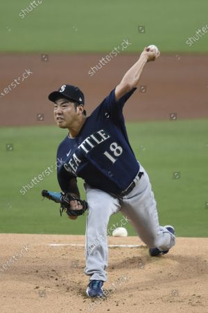 Seattle Mariners starting pitcher Yusei Kikuchi delivers during the first inning of a baseball game against the San Diego Padres, in San Diego