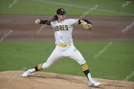 San Diego Padres starting pitcher Chris Paddack delivers during the first inning of a baseball game against the Seattle Mariners, in San Diego