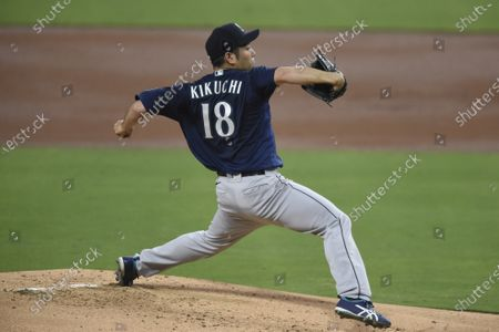 Seattle Mariners starting pitcher Yusei Kikuchi delivers during the second inning of a baseball game against the San Diego Padres, in San Diego