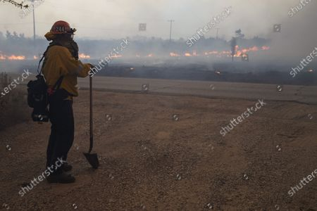 Stock Image of Capt. Dan Engkraf of Los Angeles County Fire stands in front of the driveway of a home along Cima Mesa Rd. as crews protect structures from the advancing Bobcat fire, in Juniper Hills, Calif