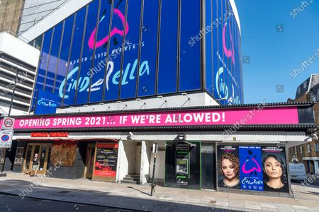 Andrew Lloyd Webber's Cinderella his latest musical comedy starring Carrie Hope Fletcher which is due to reopen at the Gillian Lynne Theater in London's west end in April 2021. The Theater has a sign saying 'Opening Spring 2021... If We're Allowed!' in reference to Theaters being closed at present to the Covid-19 pandemic.