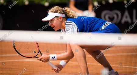 Anna-Lena Friedsam of Germany playing doubles at the 2020 Internazionali BNL d'Italia WTA Premier 5 tennis tournament