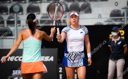 Stock Picture of Anna-Lena Friedsam of Germany & Raluca Olaru of Romania playing doubles at the 2020 Internazionali BNL d'Italia WTA Premier 5 tennis tournament