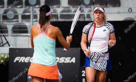 Anna-Lena Friedsam of Germany & Raluca Olaru of Romania playing doubles at the 2020 Internazionali BNL d'Italia WTA Premier 5 tennis tournament