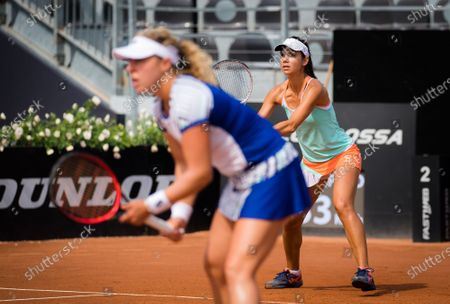 Stock Image of Anna-Lena Friedsam of Germany & Raluca Olaru of Romania playing doubles at the 2020 Internazionali BNL d'Italia WTA Premier 5 tennis tournament