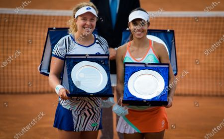 Anna-Lena Groenefeld of Germany & Raluca Olaru of Romania pose with their trophies after the doubles final of the 2020 Internazionali BNL d'Italia WTA Premier 5 tennis tournament