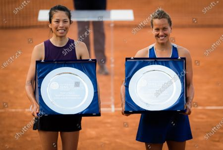 Su-Wei Hsieh of Chinese Taipeh & Barbora Strycova of the Czech Republic pose with their champions trophies after winning the doubles final of the 2020 Internazionali BNL d'Italia WTA Premier 5 tennis tournament