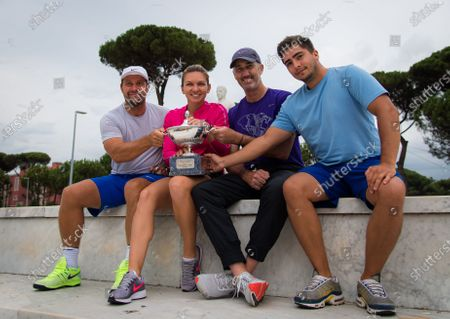 Simona Halep of Romania with coach Darren Cahill and team during the champions trophy shoot after the 2020 Internazionali BNL d'Italia WTA Premier 5 tennis tournament