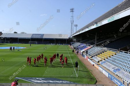 Players of Fleetwood Town during warm up