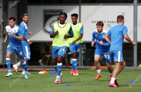 Stock Picture of Barrow players warm up.
