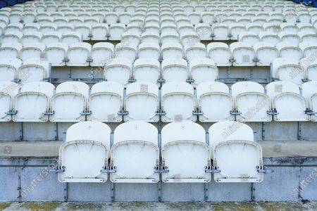 Preparations are made for the return of fans at the Jobserve Community Stadium as seats have been rmeoved to provide a safe Social Distancing measure between fans