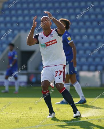 Alex Baptiste of Bolton Wanderers reacts after his equalising goal was diallowed
