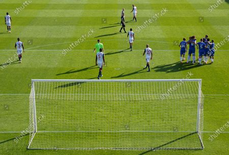 Remote view of the celebration by Tom Eastman of Colchester United, 1-0