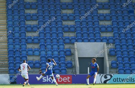 Match action in front of empty seats that have been prepared for safe Social Disyancing