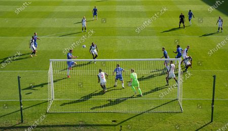 Remote view of the goal by Tom Eastman of Colchester United past Bolton Wanderers Goalkeeper Billy Crellin, 1-0