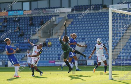 The goal by Alex Baptiste of Bolton Wanderers past Colchester United Goalkeeper Dean Gerken is disallowed